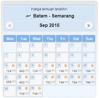 harga tiket pesawat batam semarang september 2015