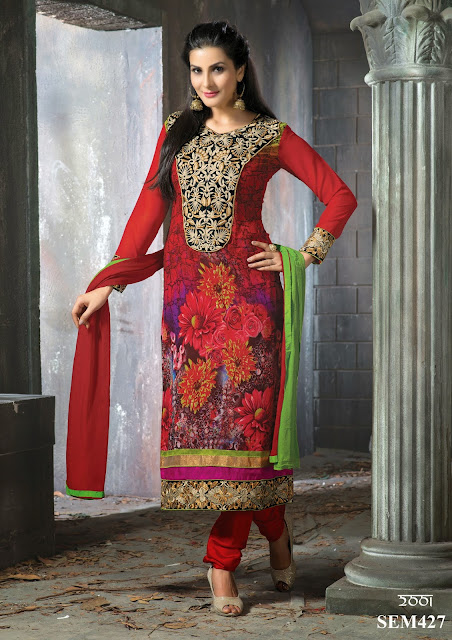 Latest Georgette Embroidery Straight Salwar Kameez