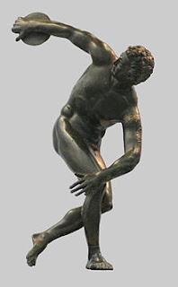 El Discobolo. Escultor griego Miron. escultores griegos. Obra de Miron. Grecia