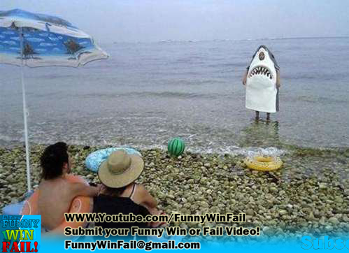Funny Shark Costume on Beach