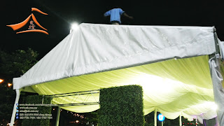 6 meter #Marquee Tent A Gate #Canvas and Side wall - our customer Pesona Canopy was fixing #Marquee #Tent at #KFC Drive - Thru #Nilia Square and required a set of A Gate canvas and Side wall for the Marquee Tent.   The order was so urgent we were required to take the measurement on the afternoon and deliver the item on the same night itself.
