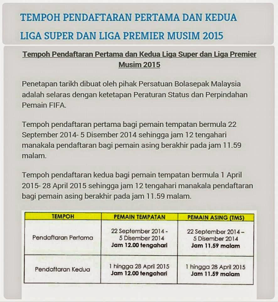 Jadual Perpindahan Pemain Liga Malaysia 2015