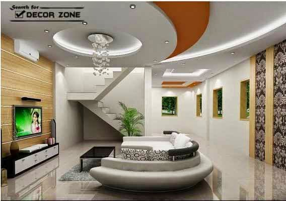 Ceiling Ideas For Living Room living room false ceiling designs with colorful pop circles Share This Article