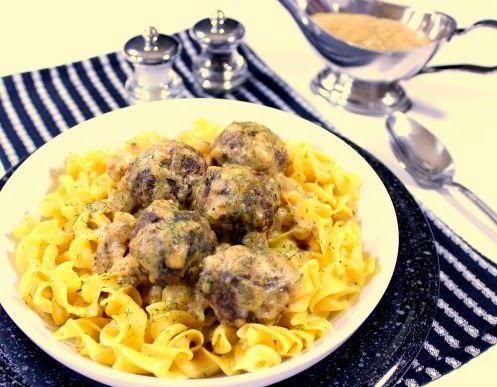 Fat free evaporated milk is the key to making these Lower Fat Dilled Swedish Meatballs. They're so good, you'll never miss the heavy cream.