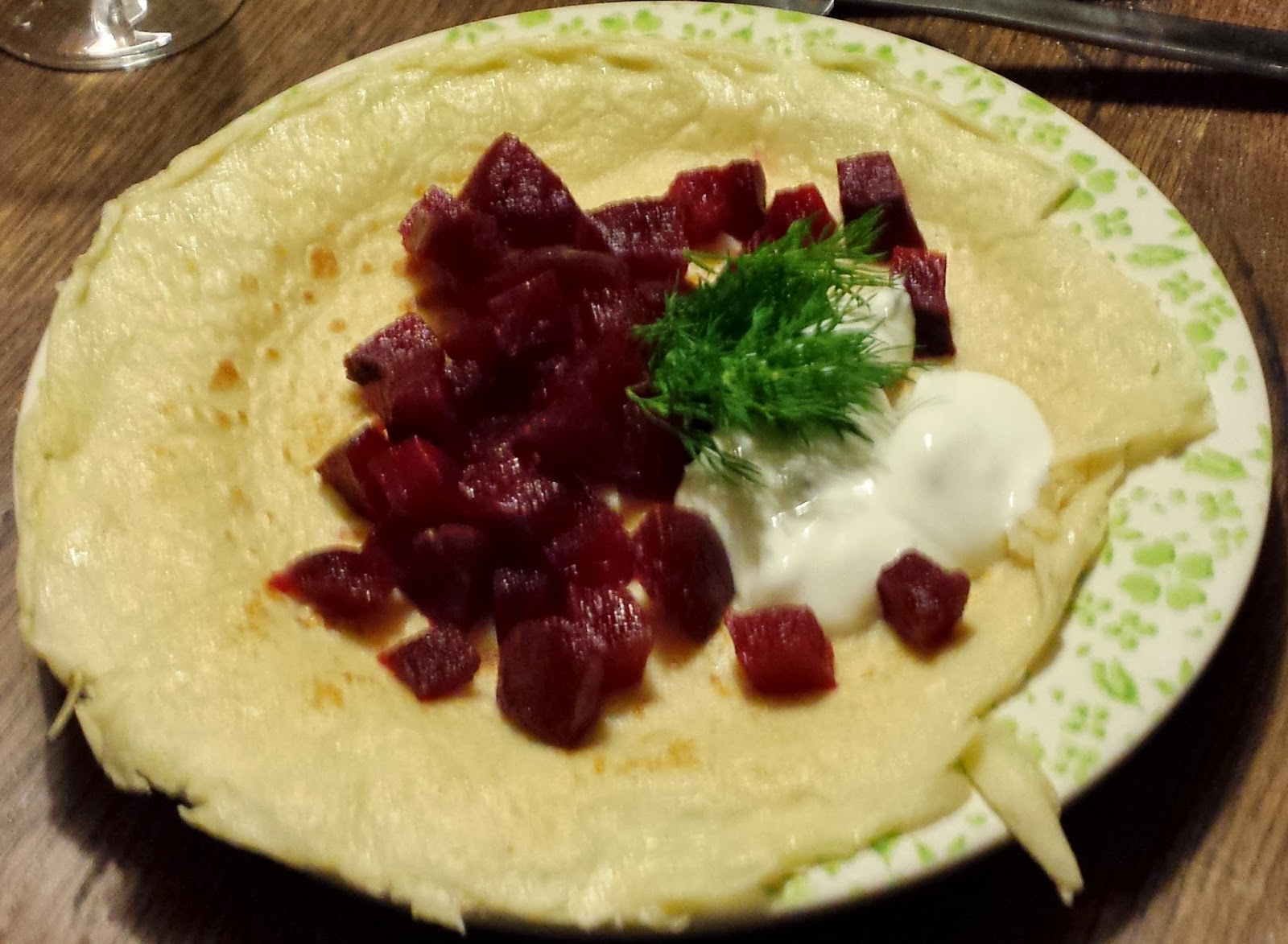Beetroot, sour cream and dill pancake