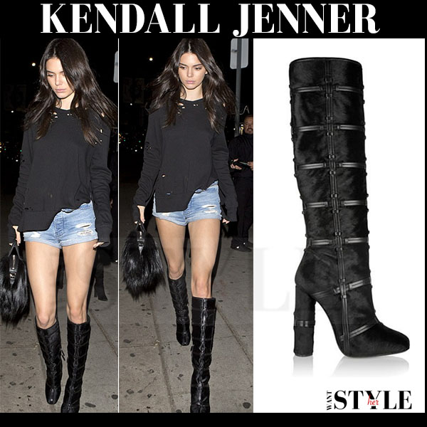 Kendall Jenner in black knee high Tom Fords boots what she wore streetstyle