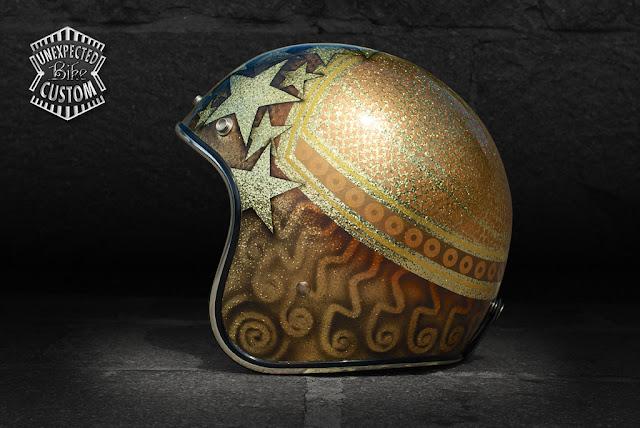 """Casco custom aperto """"Gold Stars n°1"""" su Biltwell"""