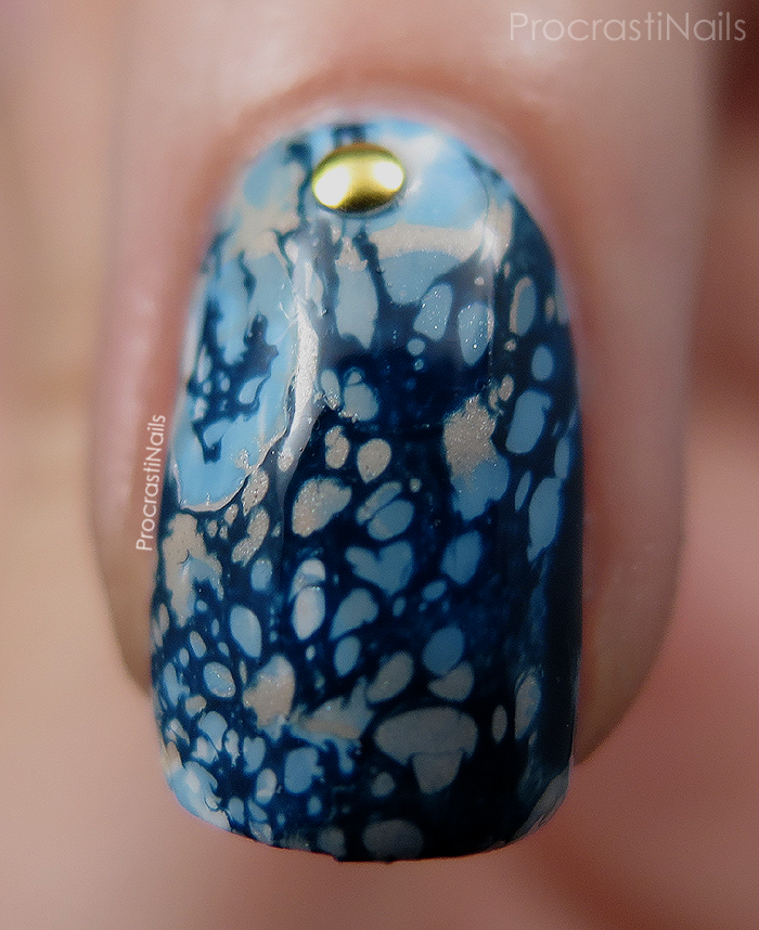 Macro shot of water spotted nail art with Julep Michelle, China Glaze Electric Beat and China Glaze Don't Honk Your Thorn