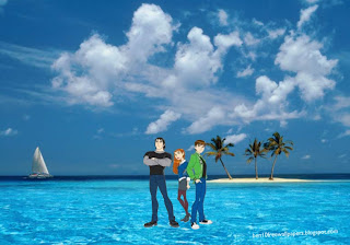 Desktop Wallpapers Ben 10 Gwen Kevin and friends in Blue Island desktop wallpaper