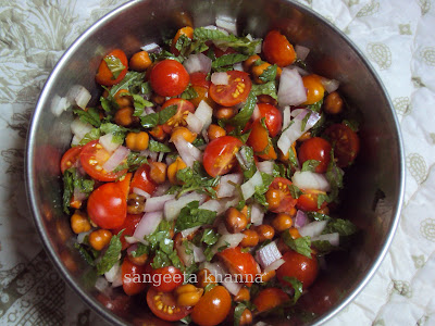 simple salad for summer...cherry tomatoes and chickpeas , detox recipe..