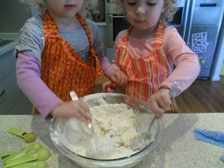 Mix in the flour and cinnamon to form a soft dough for honey biscuits.