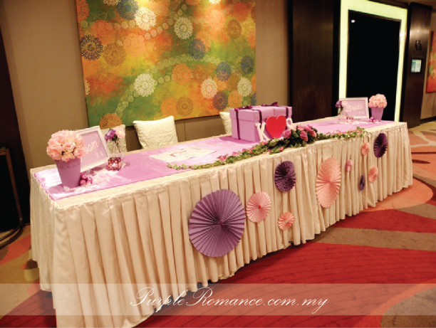 Reception Table Decoration, bride side, groom side, 婚礼装饰服务, paper fans, light purple, pink, initial, design, logo, ang pow box, money box