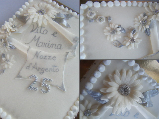 Top La Rosa Bulgara: Torta 25 anni di matrimonio(nozze d'argento  TY29