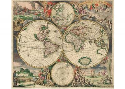Mapamundi, mapa antiguo, año1689