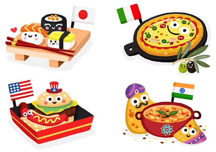 matthew scott illustration: Food from around the world