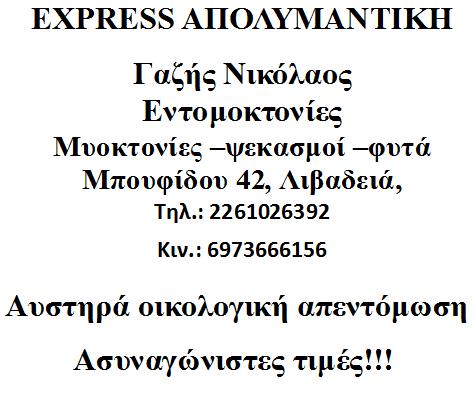 EXPRESS ΑΠΟΛΥΜΑΝΤΙΚΗ - ΛΙΒΑΔΕΙΑ!
