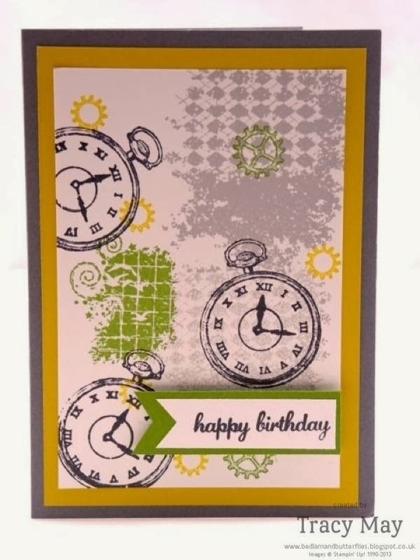 Stampin up uk Clockworks male card independent demonstrator Tracy May card making ideas