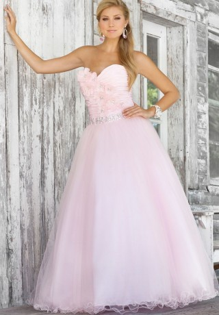 Glorious Pink Strapless Wedding Ball Gowns