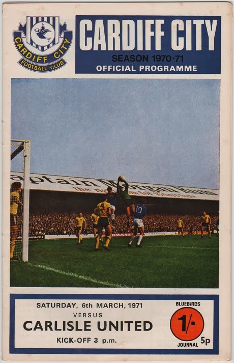 Football programme for Cardiff City v Carlisle United, March 1971