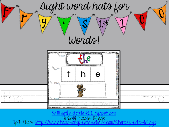 http://www.teacherspayteachers.com/Product/Sight-Word-HatsPractice-Sheets-Frys-First-100-Words-1119035