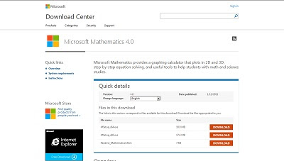 Microsoft Mathematics, Mathematic