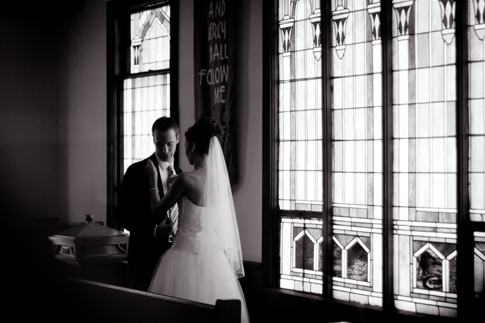 Stainedglass window, wedding portraits with stainedglass, wedding first look, Black & white wedding portraiture