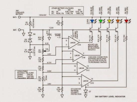 36v battery level led indicator circuit schematic