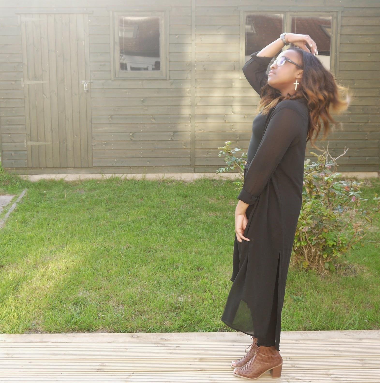 long duster kimono h&m black chiffon shirt river island black high waisted tube pants lace up forever 21 peep toe block heels