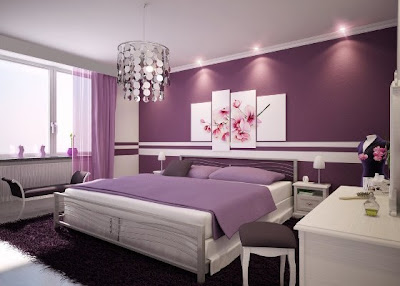 Purple Bedroom Interior Paint