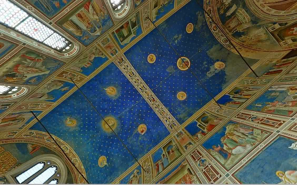 Ceiling of the Scrovegni Chapel in Padua, containing a fresco cycle by Giotto, one of the most important masterpieces of Western art