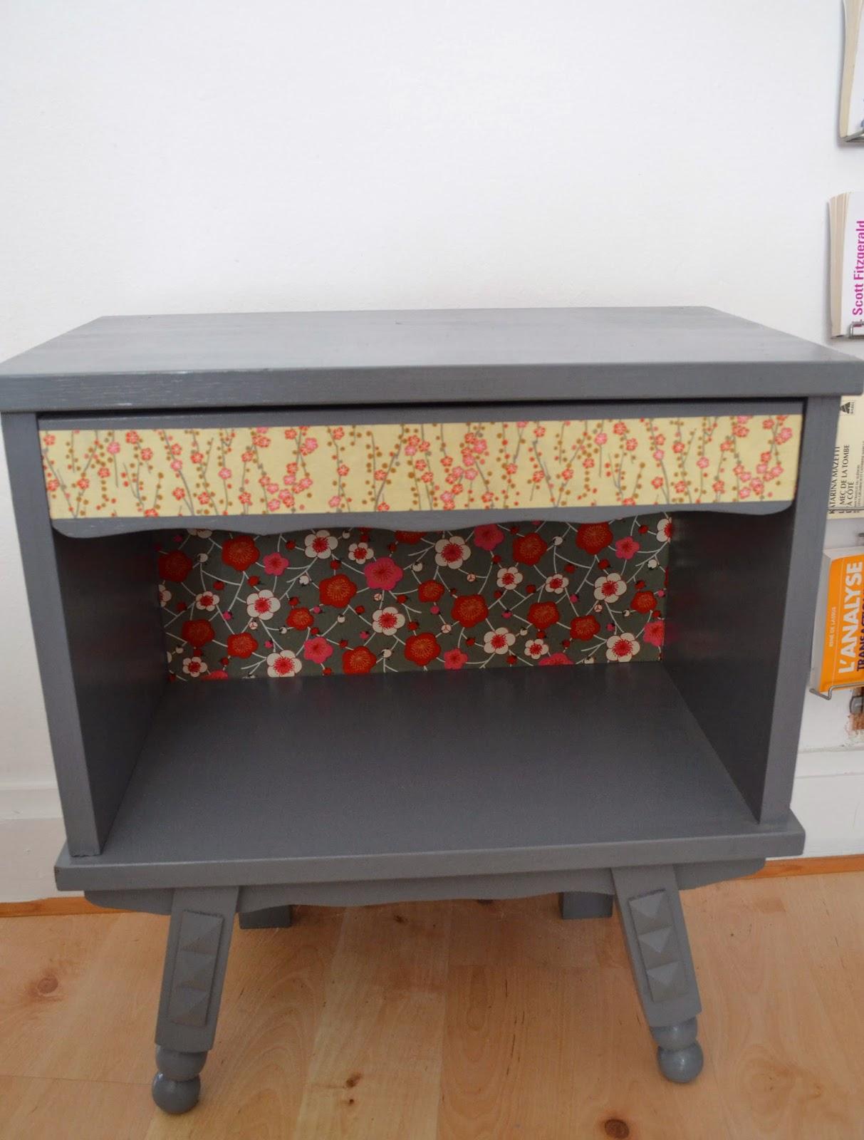 les vieilleries pr sent la table de nuit relook e fa on tv r tro. Black Bedroom Furniture Sets. Home Design Ideas