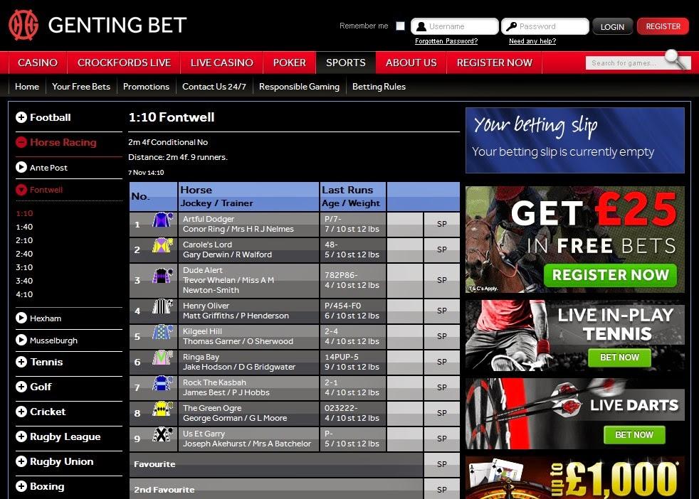 Genting Bet Horse Racing Screen