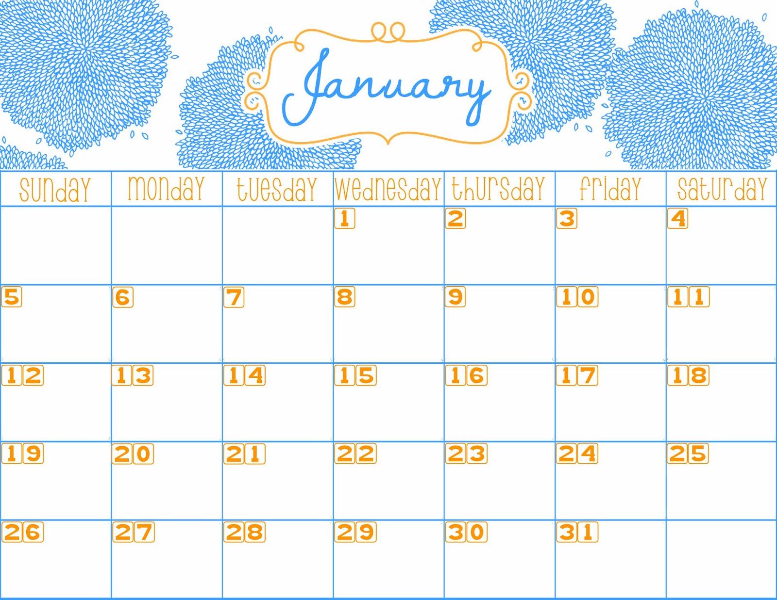 January 2016 Calendar Printable Cute | Calendar Template 2016