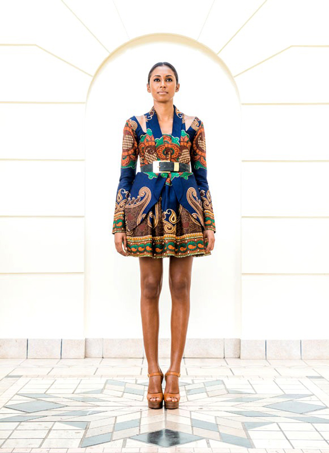 Taibo Bacar's F/W 2013 lookbook -African print style dress- blazer