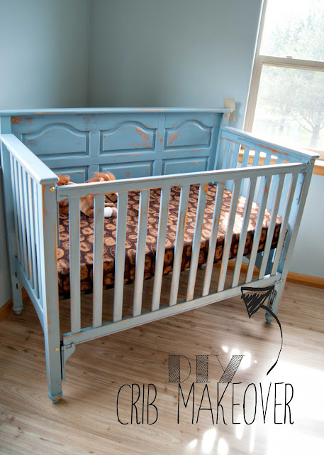 Crib makeover - from ugly brown to blue
