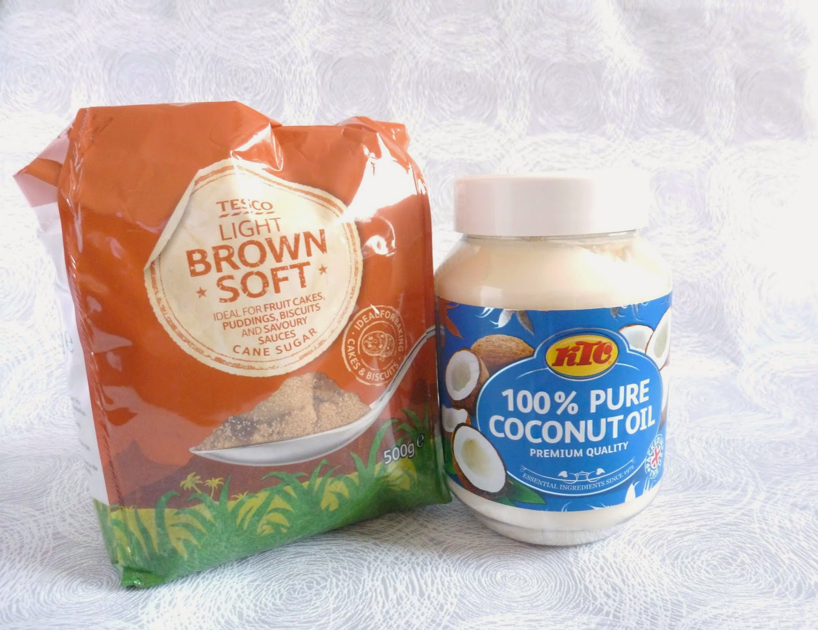 Tesco's brown sugar and coconut oil - to make a homemade scrub