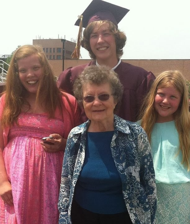 MIL with my kids at Beau's HS graduation