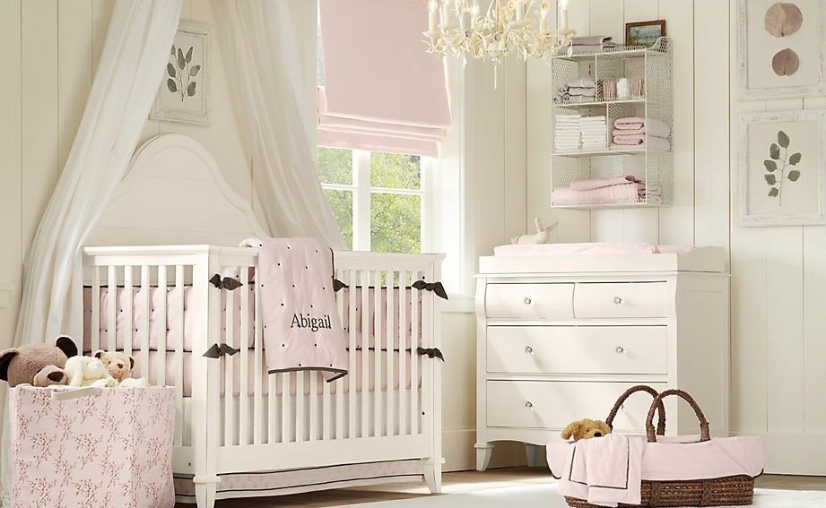 interior design white and pink baby room