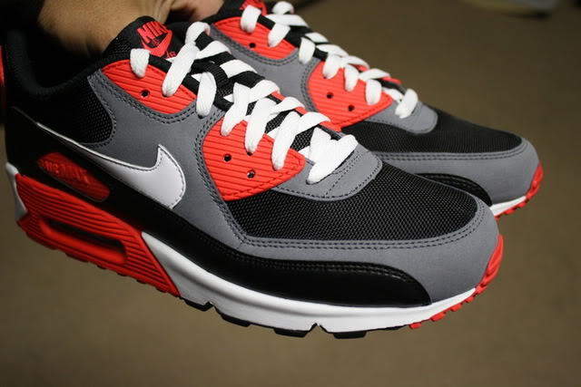 nike air max 90 black white flint grey hot red
