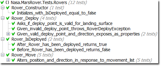 Rover Tests reading as class documentation