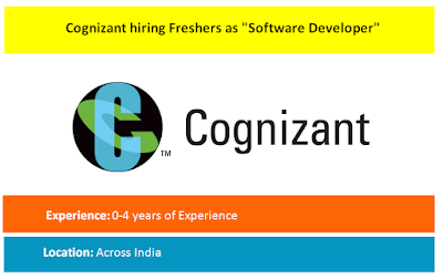 "Cognizant hiring Freshers as ""Software Developer"""