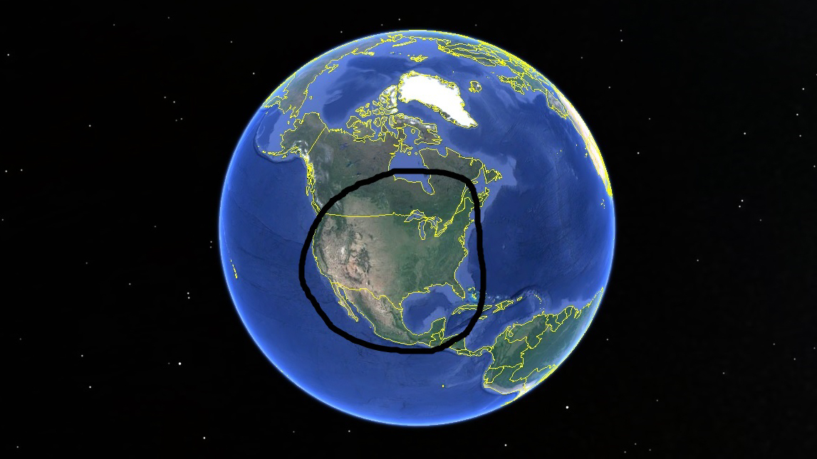 google earth with circle around united states