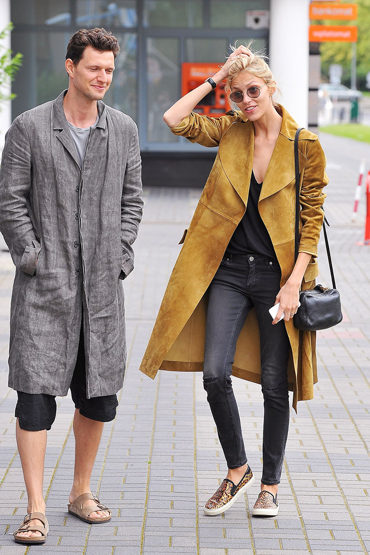 Anja Rubik and Husband Sasha Knezevic, models, model couple, street style, off duty