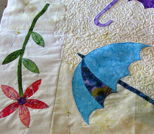 Free motion quilting table runner at Freemotion by the River