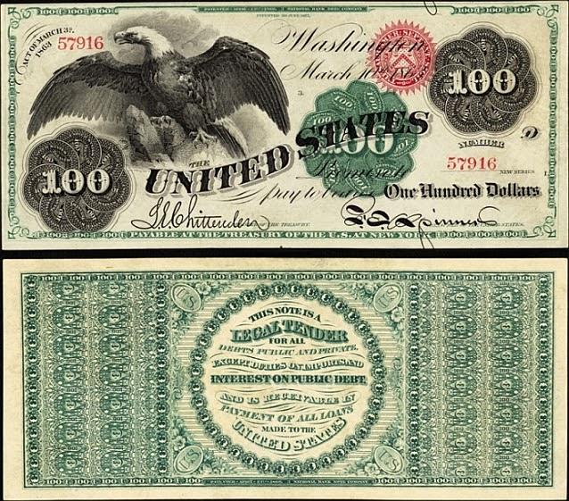 100 долларов Соединённых Штатов (северян), 1863 год