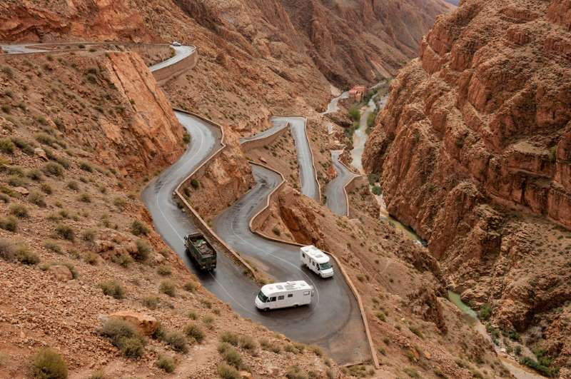 The twists and turns of the Tiz n'Tichka Pass in Morocco.