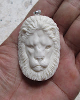 Lion Head Carved Bone Pendants