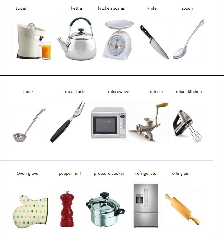 Learn english with pleasure kitchen vocabulary for Kitchen utensils list