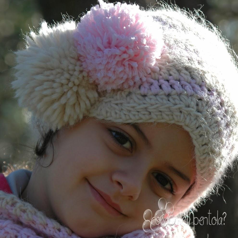 beretto e sciarpa crochet per bambina 2014