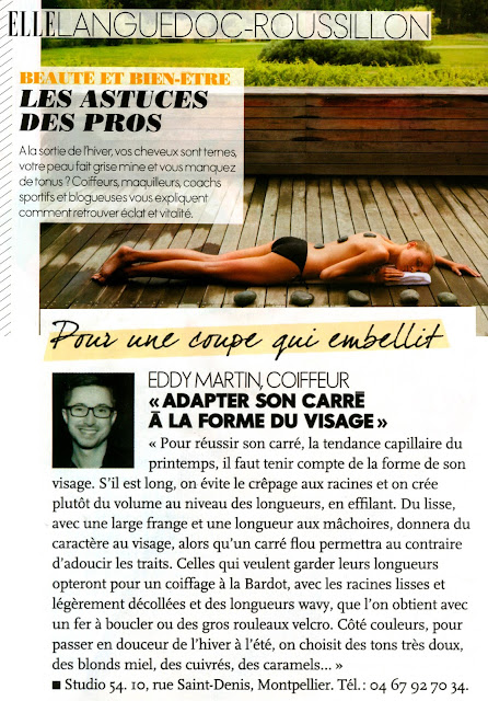 """Article du magazine """"Elle"""", du 8 mars 2013, dans lequel Eddy prodige des conseils coiffure au nom du Studio 54."""